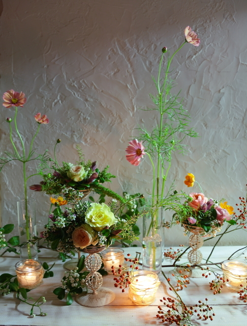 一会定期レッスン10月16日昼 キャンドルと器と花のコーディネイト、自分で選ぶ花のレッスン_a0042928_14100560.jpg