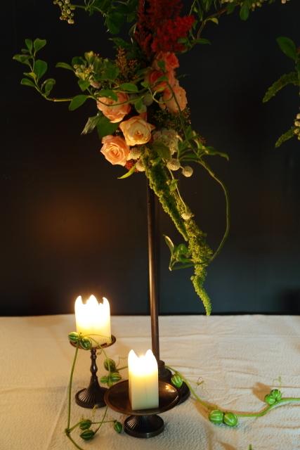 一会定期レッスン10月16日昼 キャンドルと器と花のコーディネイト、自分で選ぶ花のレッスン_a0042928_14102039.jpg