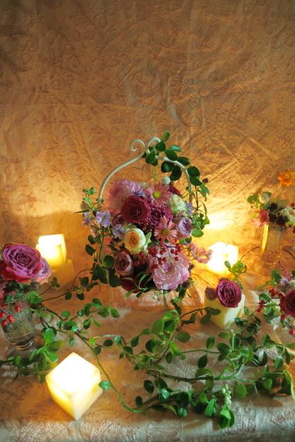 一会定期レッスン10月16日昼 キャンドルと器と花のコーディネイト、自分で選ぶ花のレッスン_a0042928_14103333.jpg