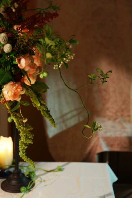 一会定期レッスン10月16日昼 キャンドルと器と花のコーディネイト、自分で選ぶ花のレッスン_a0042928_14111186.jpg