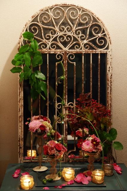 一会定期レッスン10月16日昼 キャンドルと器と花のコーディネイト、自分で選ぶ花のレッスン_a0042928_14133121.jpg