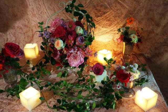 一会定期レッスン10月16日昼 キャンドルと器と花のコーディネイト、自分で選ぶ花のレッスン_a0042928_14474764.jpg
