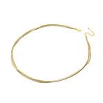 身につける漆 平編紐 ラメコード 3本 50cm 坂本これくしょんの漆のアクセサリーを素敵に輝かせるアクセサリー用コード wearable URUSHI accessories Code Lame Thread Gold color ラメ糸を使用したゴールドカラーの3本タイプでより華やかさを演出、チョーカータイプより少し長めの50cm、カジュアルな日常使いにも、華やかなお出かけシーンにもマッチしオールシーズン活用できます。 #アクセサリーコード #AccessorieCode #50cm #平編紐 #ラメ糸コード #ゴールドカラーコード #3本コード #デザインコード #換え紐 #ThreadCode #LameCode #OriginalCode #handmade #坂本これくしょん #身につける漆 #会津若松市