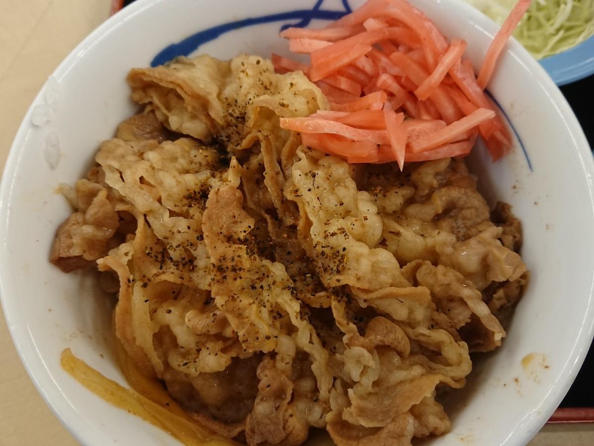 10/20  得朝ミニ牛めし豚汁セット¥430 + 生野菜¥110 @松屋_b0042308_07164934.jpg