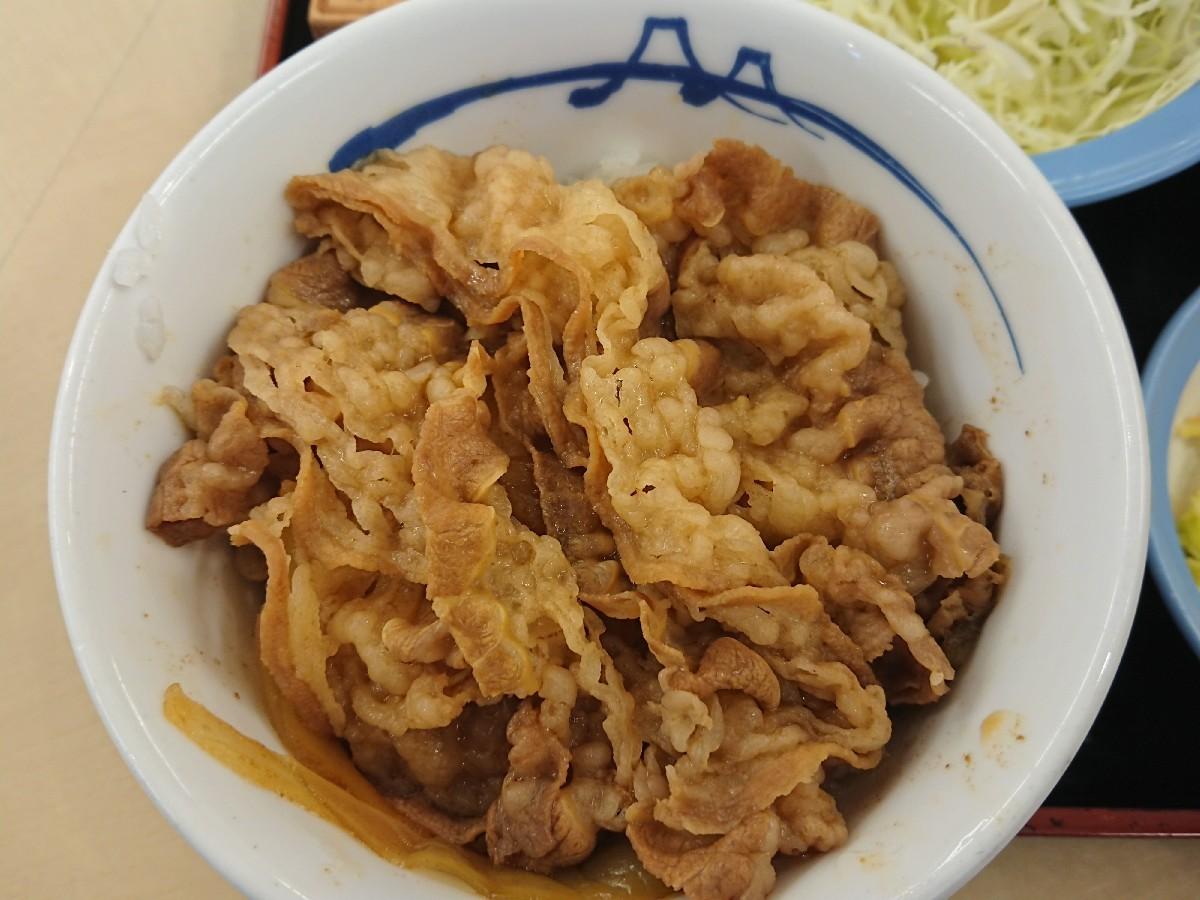 10/20  得朝ミニ牛めし豚汁セット¥430 + 生野菜¥110 @松屋_b0042308_07164985.jpg