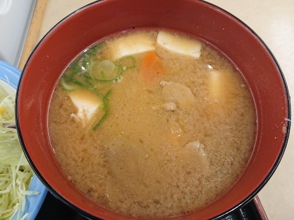 10/20  得朝ミニ牛めし豚汁セット¥430 + 生野菜¥110 @松屋_b0042308_07165054.jpg