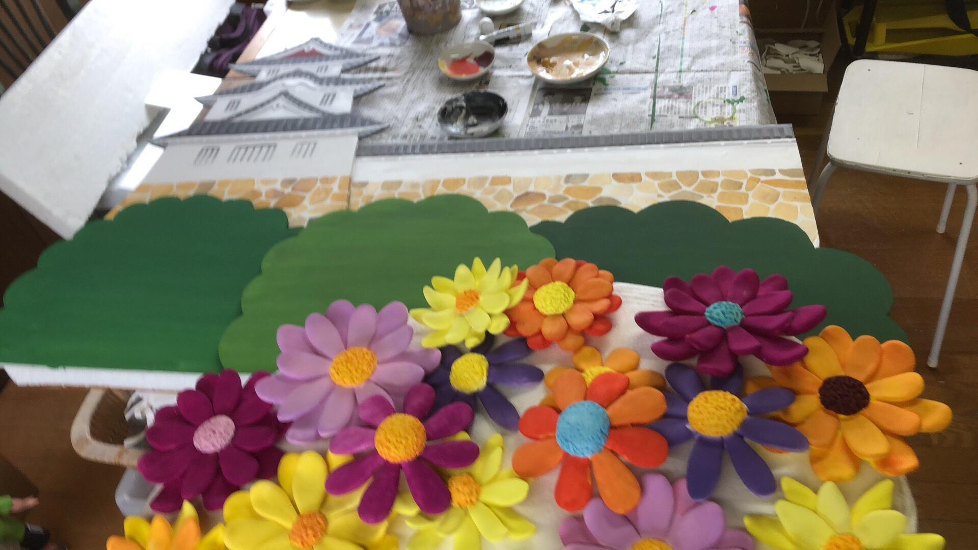 粘土作品制作過程 「明石城と菊の花」_f0395434_00554440.jpg
