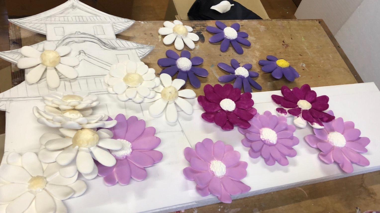 粘土作品制作過程 「明石城と菊の花」_f0395434_00563634.jpg