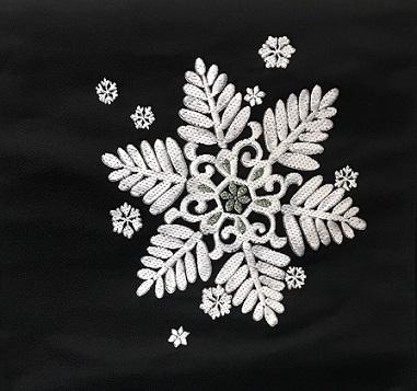 西陣まいづる新作雪の結晶九寸黒地+千切屋雪輪小紋_f0181251_15292146.jpg