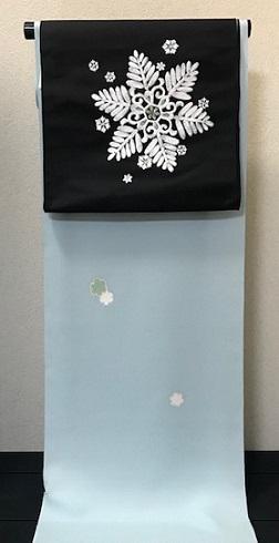 西陣まいづる新作雪の結晶九寸黒地+千切屋雪輪小紋_f0181251_1533149.jpg