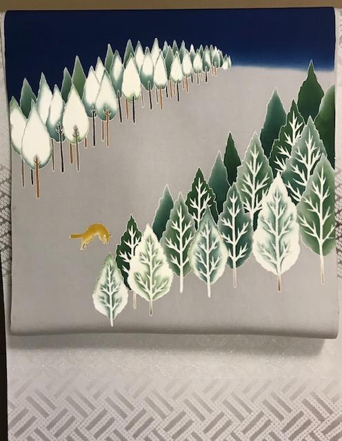 千切屋さんで仕入れた、雪木立にキツネの素敵な染め帯。_f0181251_1713088.jpg