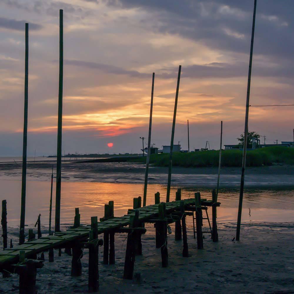 夕景 回想㉔)緑川河口の夕暮れ=熊本市南区_d0238245_20031707.jpg