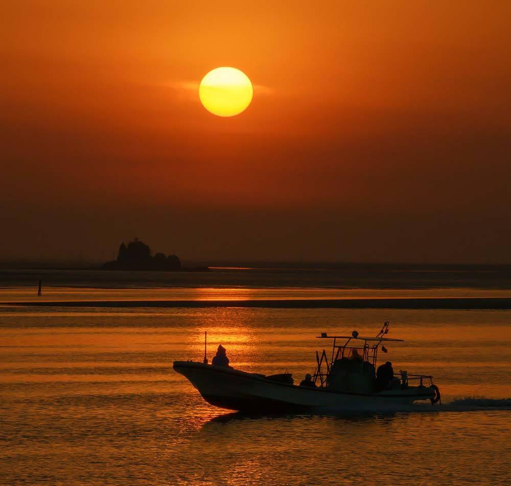 夕景 回想㉔)緑川河口の夕暮れ=熊本市南区_d0238245_20482901.jpg