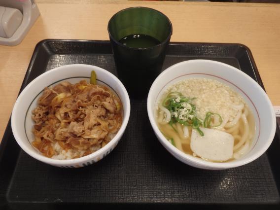 なか卯の和風牛丼ミニとはいから小うどん          神戸元町店_c0118393_08060514.jpg