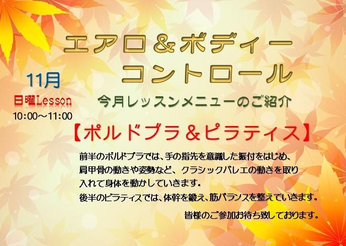 11月のエアロ&ボディーコントロールのお知らせ_d0180431_14200111.jpg