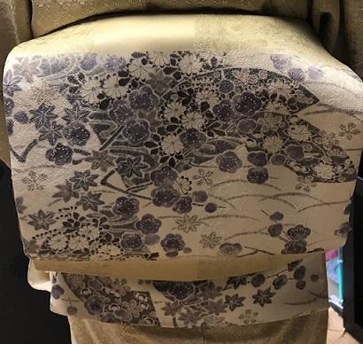 ご来店のお客様・飾り紋の花織の無地にピッタリの帯。_f0181251_182248.jpg