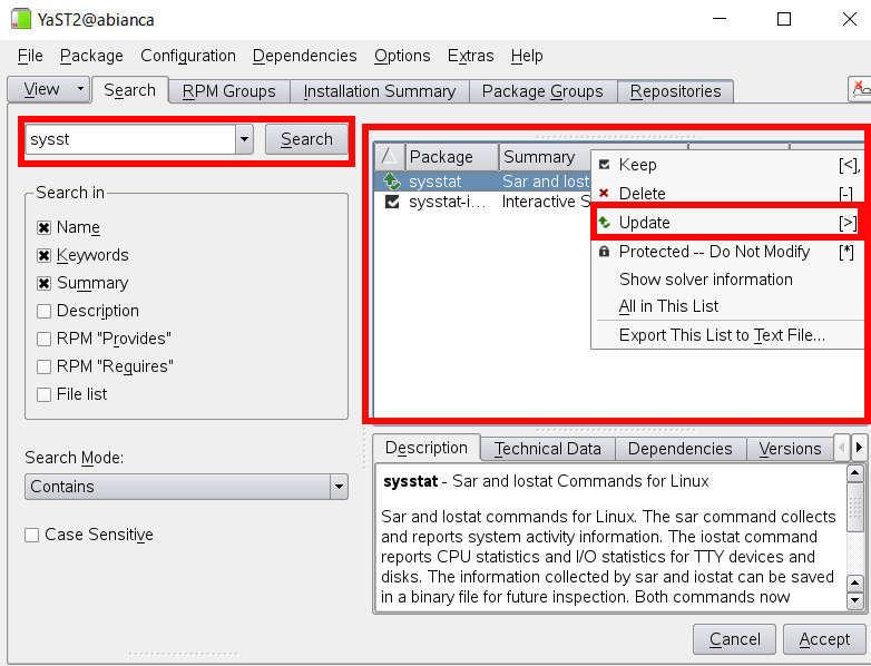 YaST (yast2) による SUSE Linux のパッケージ管理, インストールと削除_a0056607_14390931.jpg