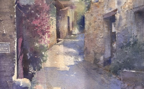 石の街 水彩画 _f0176370_16185283.jpg