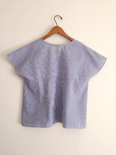 ブルーのヒッコリーの紗依/ブラウスと、Casshy/スカート (セミオーダー)_b0199696_18394473.jpg