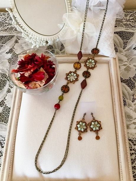 ❀Czech And Wood Long Necklace & Earrings❀_c0368764_23044614.jpg