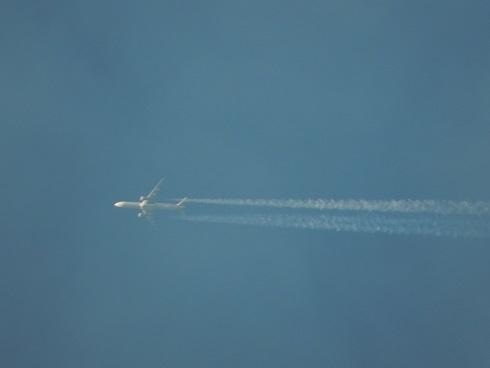 飛行機雲が茜に染まる_e0175370_21462869.jpg