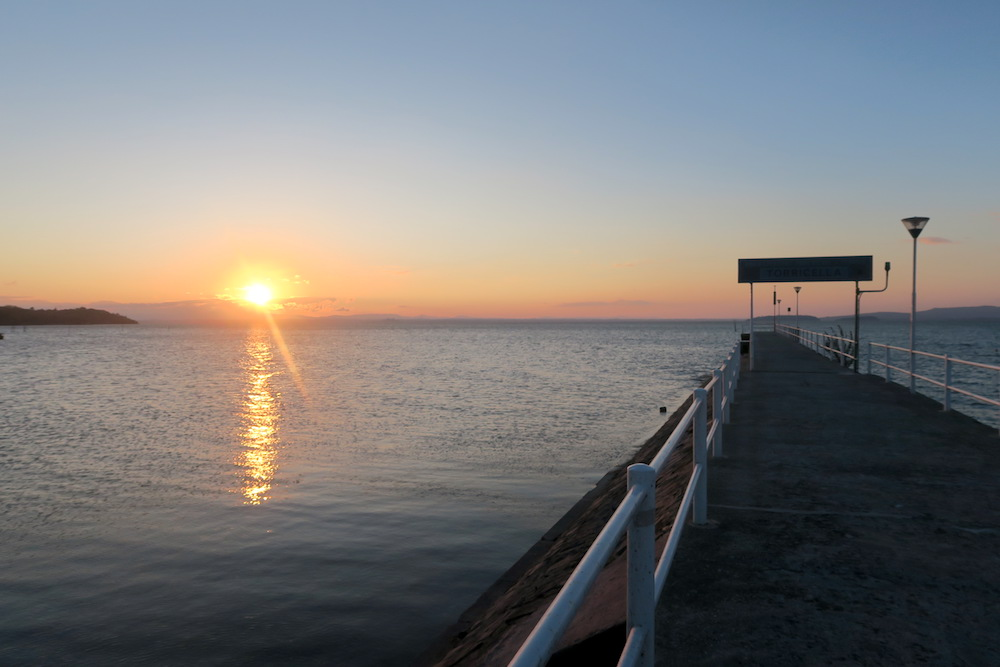 アオサギ飛びゆく夕日の湖、トラジメーノ湖_f0234936_5502989.jpg
