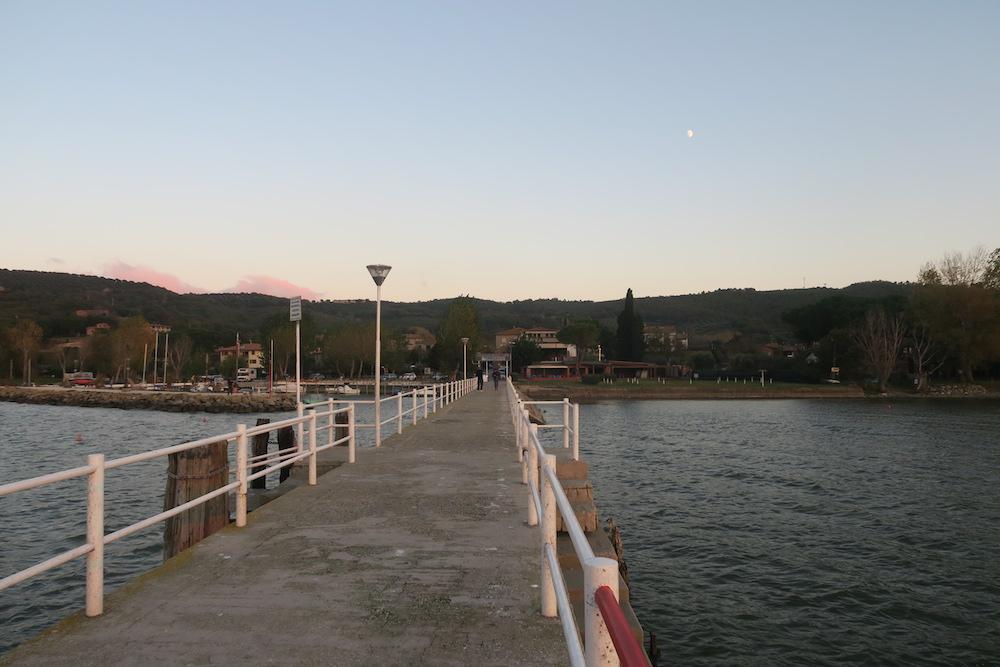 アオサギ飛びゆく夕日の湖、トラジメーノ湖_f0234936_68428.jpg