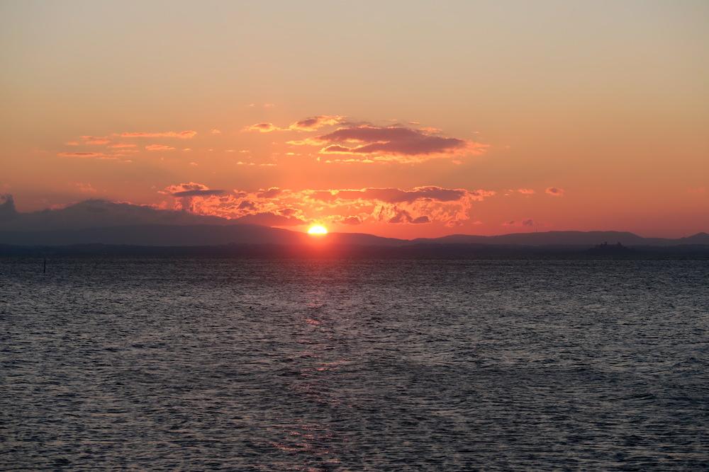 アオサギ飛びゆく夕日の湖、トラジメーノ湖_f0234936_702086.jpg