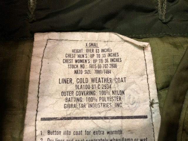 11月24日(土)大阪店スーペリア入荷!!#2 U.S.Military編Part2!!U.S.MilitaryCoat&LinerJkt!!(マグネッツ大阪アメ村店)_c0078587_1945132.jpg