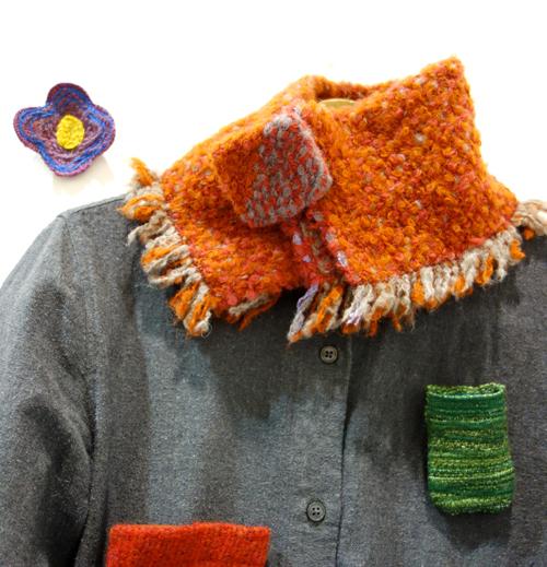 【三浦奈巳作品展〜縫って織ってできました】つけたらこんな感じ!「ネックウォーマー」&「リストウォーマー」やっぱり機能もすごかった!_a0017350_04064363.jpg