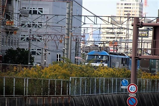 藤田八束の鉄道写真@貨物列車と秋の空、貨物列車桃太郎が東海道本線そして西宮を走る_d0181492_10303689.jpg