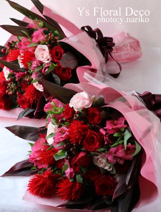 ご両親様贈呈用花束 赤ピンク系のお花で_b0113510_14040693.jpg
