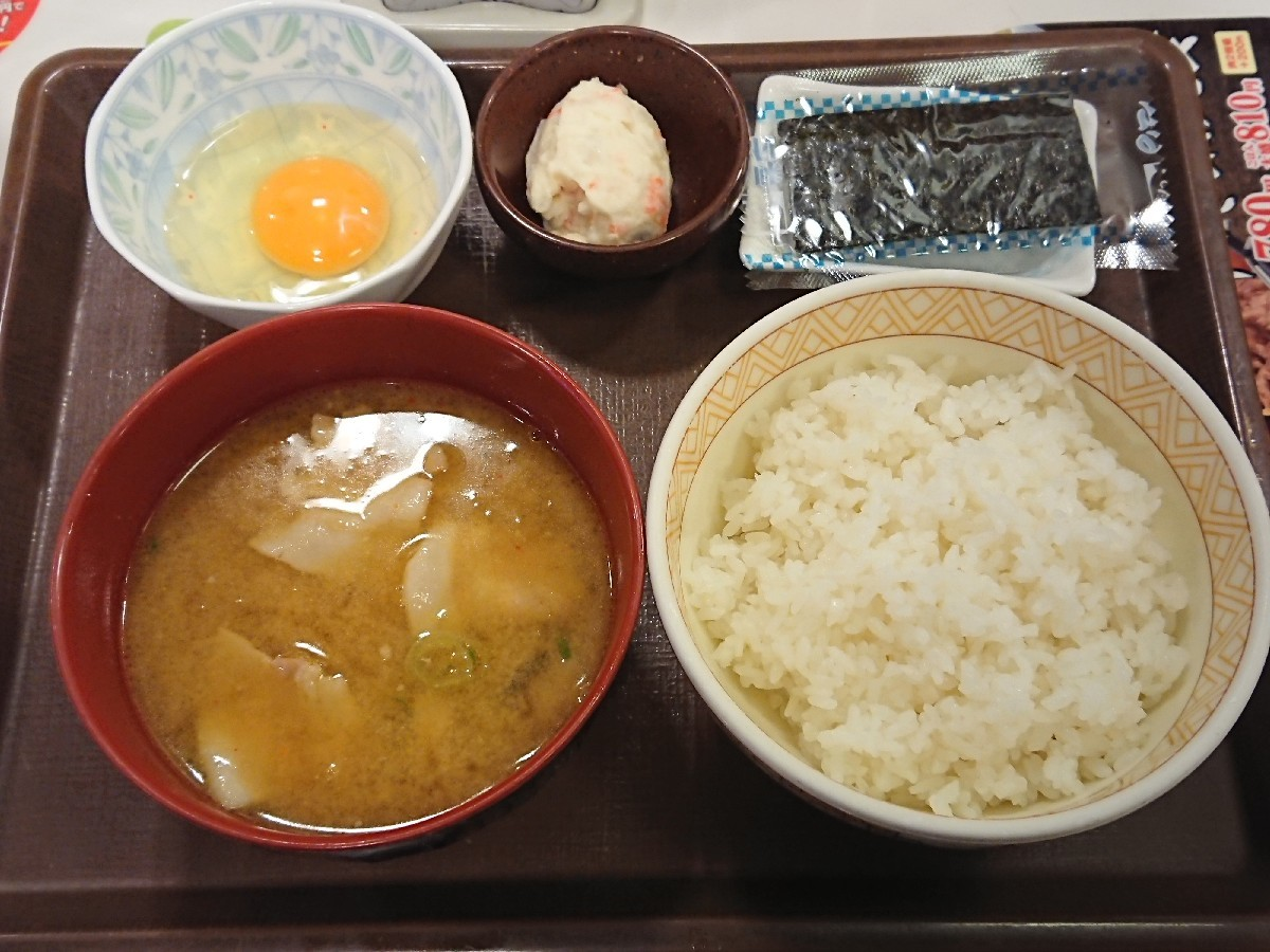 11/26  カレーとん汁たまかけ朝食 ¥380 @すき家_b0042308_07074618.jpg