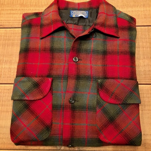 "Late 1960s "" PENDLETON WOOLEN MILLS \"" 100% worsted WOOL VINTAGE CHECK SHIRTS ._d0172088_21121278.jpg"