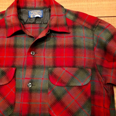 "Late 1960s "" PENDLETON WOOLEN MILLS \"" 100% worsted WOOL VINTAGE CHECK SHIRTS ._d0172088_21122876.jpg"