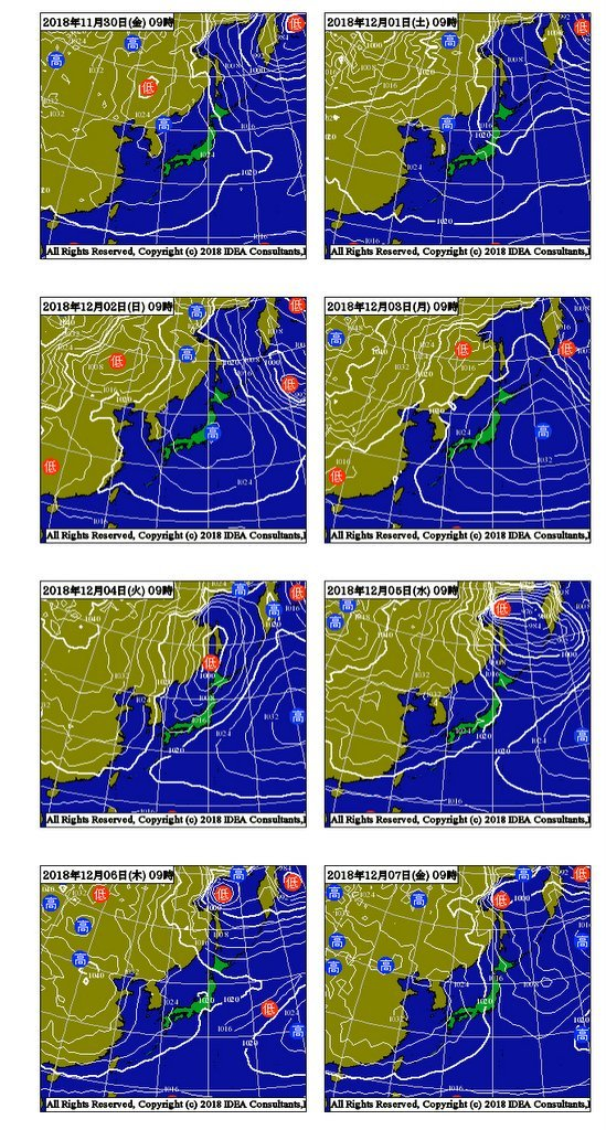 Unisys Weather   GFS - EA - 850mb - 9Panel for East Asia+1ヶ月予報(2018年11月30日版)_e0037849_23151742.jpg
