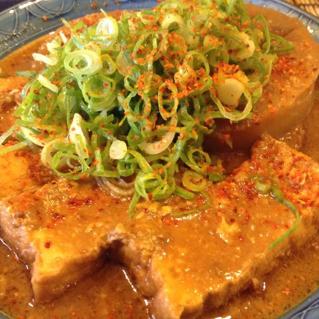 豚キャベツ味噌鍋からの流れで厚揚げと大根の煮込みへ。_a0334793_01182490.jpg