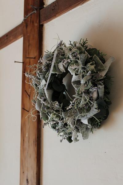 第16回 にのはこ時間 『シルバーリーフを集めた冬の white wreath 』joie.m_f0162302_21303773.jpg
