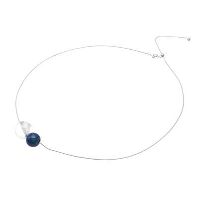 Jewel of Forest 漆のアクセサリー ペンダント 球1.5×アクリル 月あかり色 伝統工芸から生まれた坂本これくしょんのプレミアムシリーズ、洗練されたデザインジュエリー wearable URUSHI accessories pendant Sphere & Acrylic Moon Light Adjustable Chain Code アクリルの球体の穴に蒔絵の技法で銀色粉を、魚眼レンズ効果で角度によりとても不思議なパワー、角度によってブルー系、グリーン系と表情が変化する月あかり色との組み合わせが大人の可愛いさを演出。 #漆のアクセサリー #漆ジュエリー #森の宝石 #ペンダント #デザインジュエリー #デザインペンダント #月あかり色 #pendant #MoonLight #JewelOfForest #Necklace #designjewelry #AdjustableChainCode #身につける漆 #坂本これくしょん