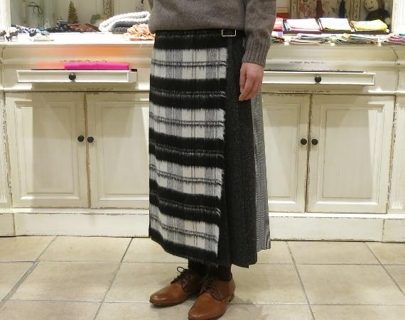 お正月のお出かけには、3柄を合わせたキルトスカートで・・・_c0227633_15431027.jpg
