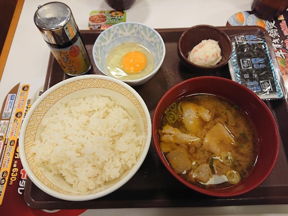 12/20  カレー豚汁たまかけ朝食¥380@すき家_b0042308_06592011.jpg