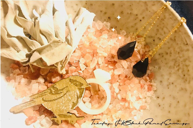 インスピレーション・アクセサリー:ジェット(黒玉) のしずくピアス!/ Teardrop Jet Black Pierced Earrings!!_d0018646_19020618.jpg