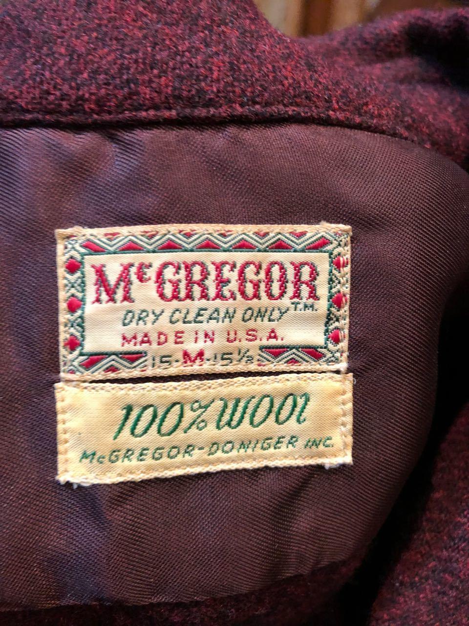12/24(月)入荷! 50s〜マクレガー オープンカラー ウールシャツ!_c0144020_18582043.jpg