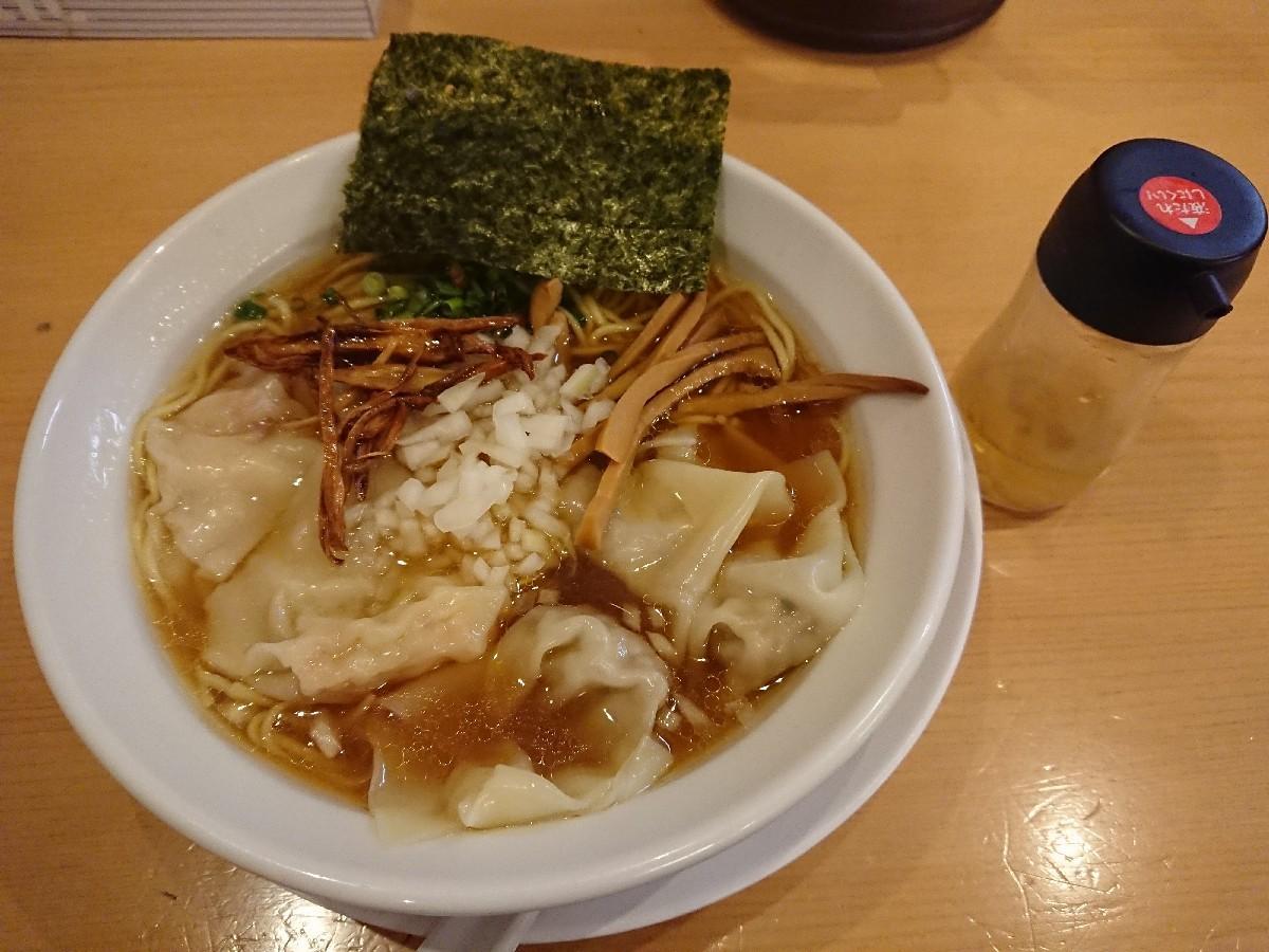 12/24  新橋纒高幡不動店  鶏がらスープのワンタン麺 ¥880_b0042308_19133739.jpg
