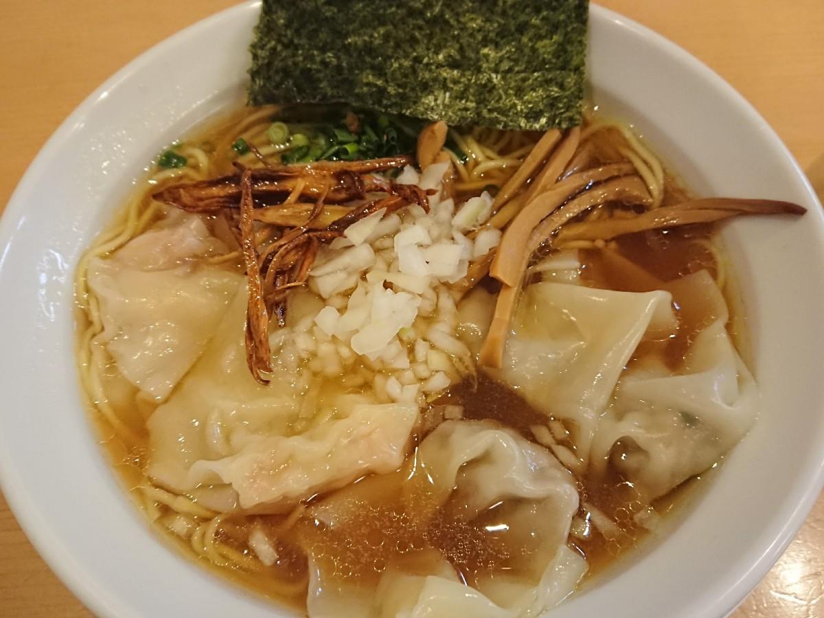 12/24  新橋纒高幡不動店  鶏がらスープのワンタン麺 ¥880_b0042308_19133763.jpg