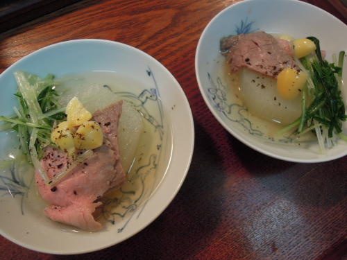 大根 ローストビーフ 水菜 銀杏 黑七味_e0116211_22075708.jpg