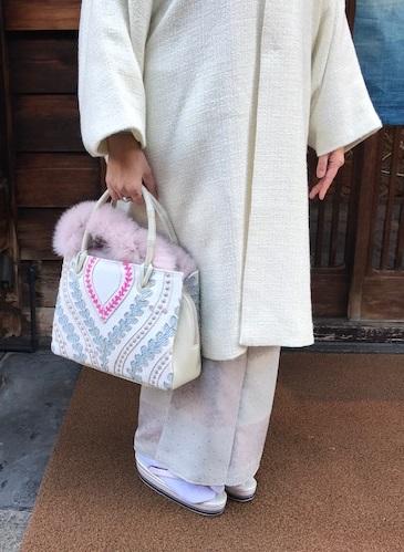 クリスマス会・久子様・御召に雪の結晶染め帯・鶴のバッグ_f0181251_11133371.jpg