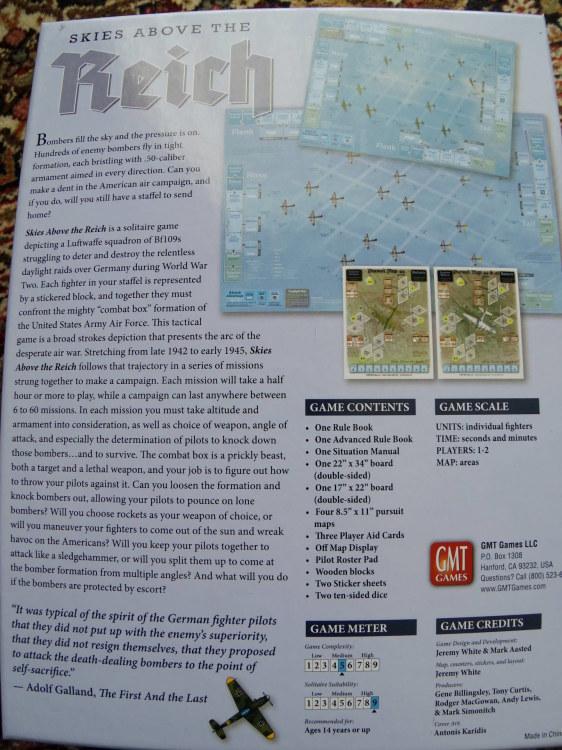 (GMT)Skies Above the Reich ドイツ本土昼間防空戦(ソロ専用)...かつてのウォーゲーム・ブーム期を上回る勢いで続々と出版される最新ゲームたち➁_b0173672_22161265.jpg