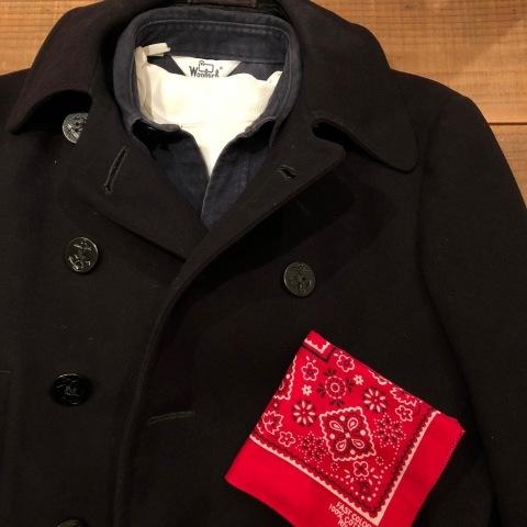 "1940s \"" U.S NAVAL CLOTHING FACTORY \"" - ALL Melton WOOL - Vintage 10 BUTTON P-COAT ._d0172088_17265291.jpg"