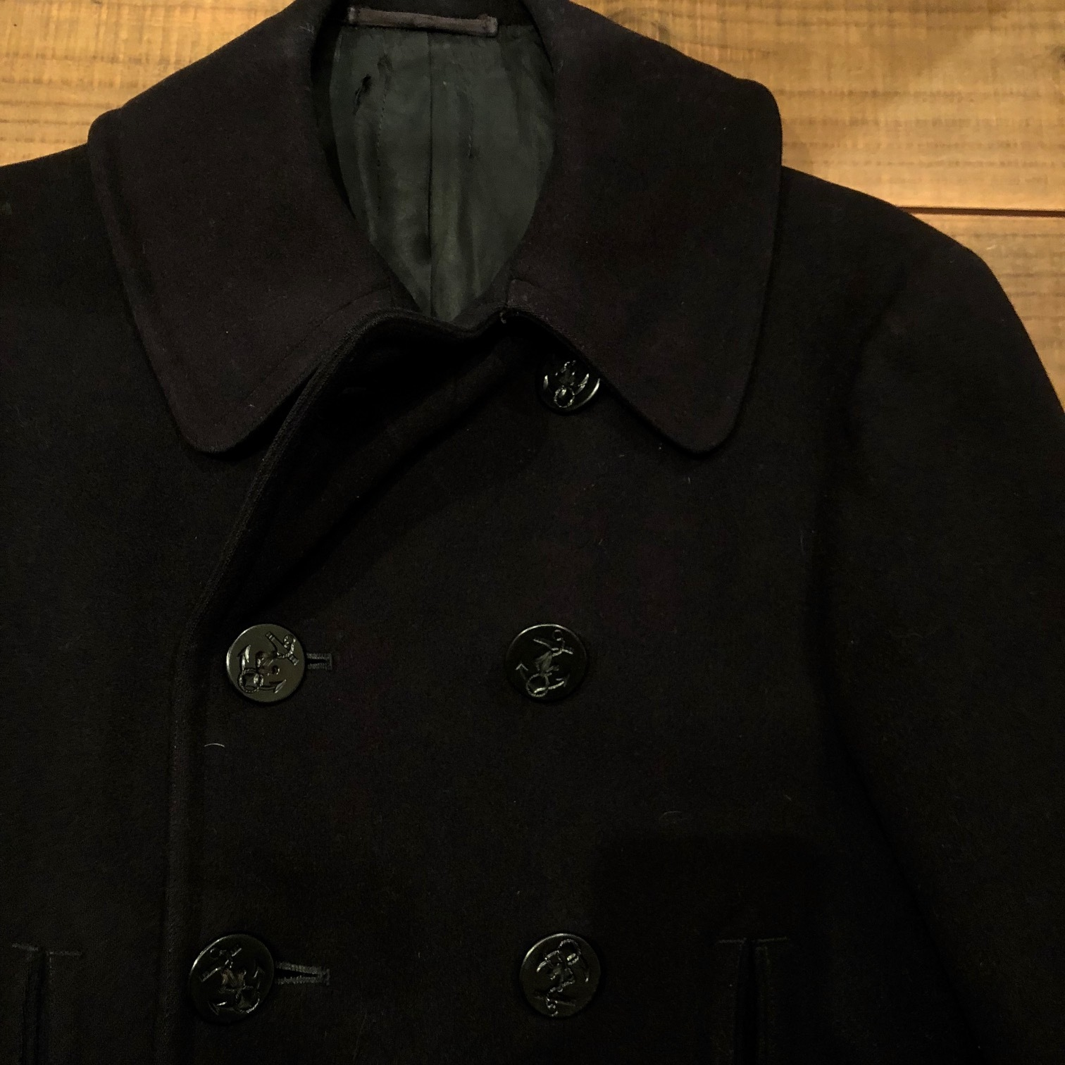"1940s \"" U.S NAVAL CLOTHING FACTORY \"" - ALL Melton WOOL - Vintage 10 BUTTON P-COAT ._d0172088_17282037.jpg"